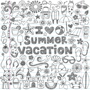 I Love Summer Vacation Tropical Hawaiian Doodles Vector